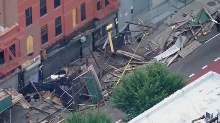 Car crashes into scaffolding in Brooklyn