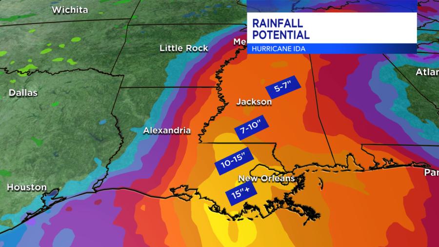 Hurricane Ida rainfall predictions