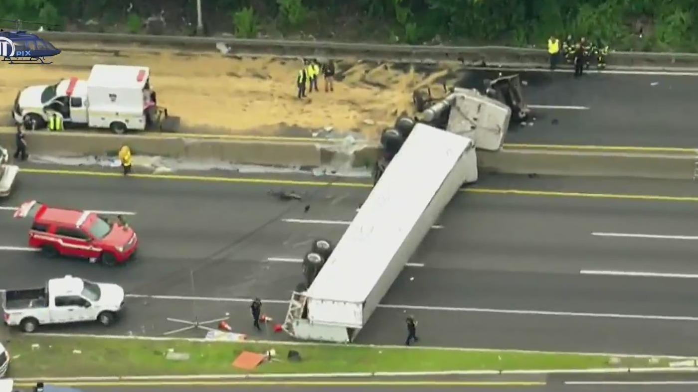 Truck flips over on I-95