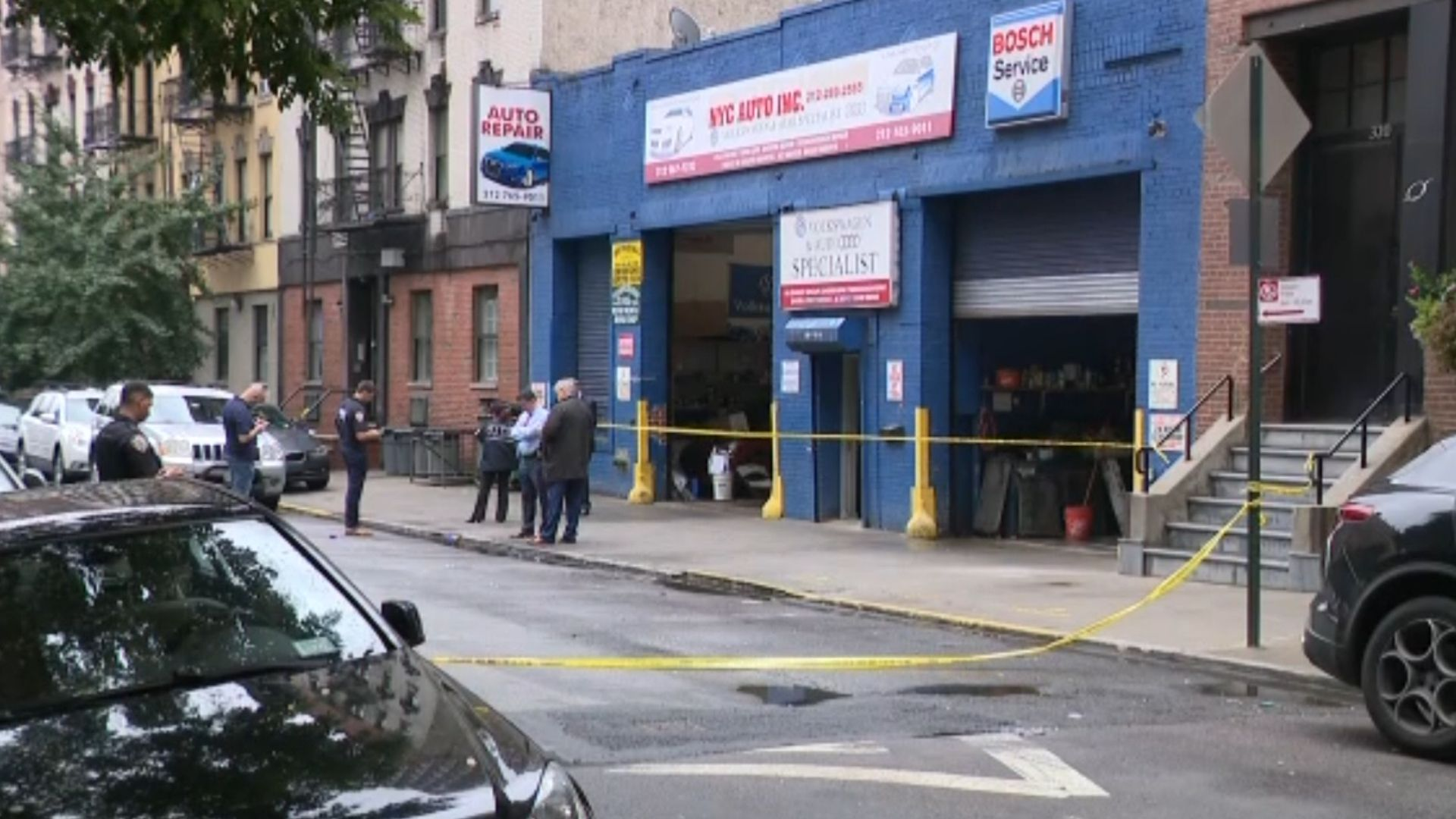 Police on the scene after a double shooting on Manhattan's Upper East Side