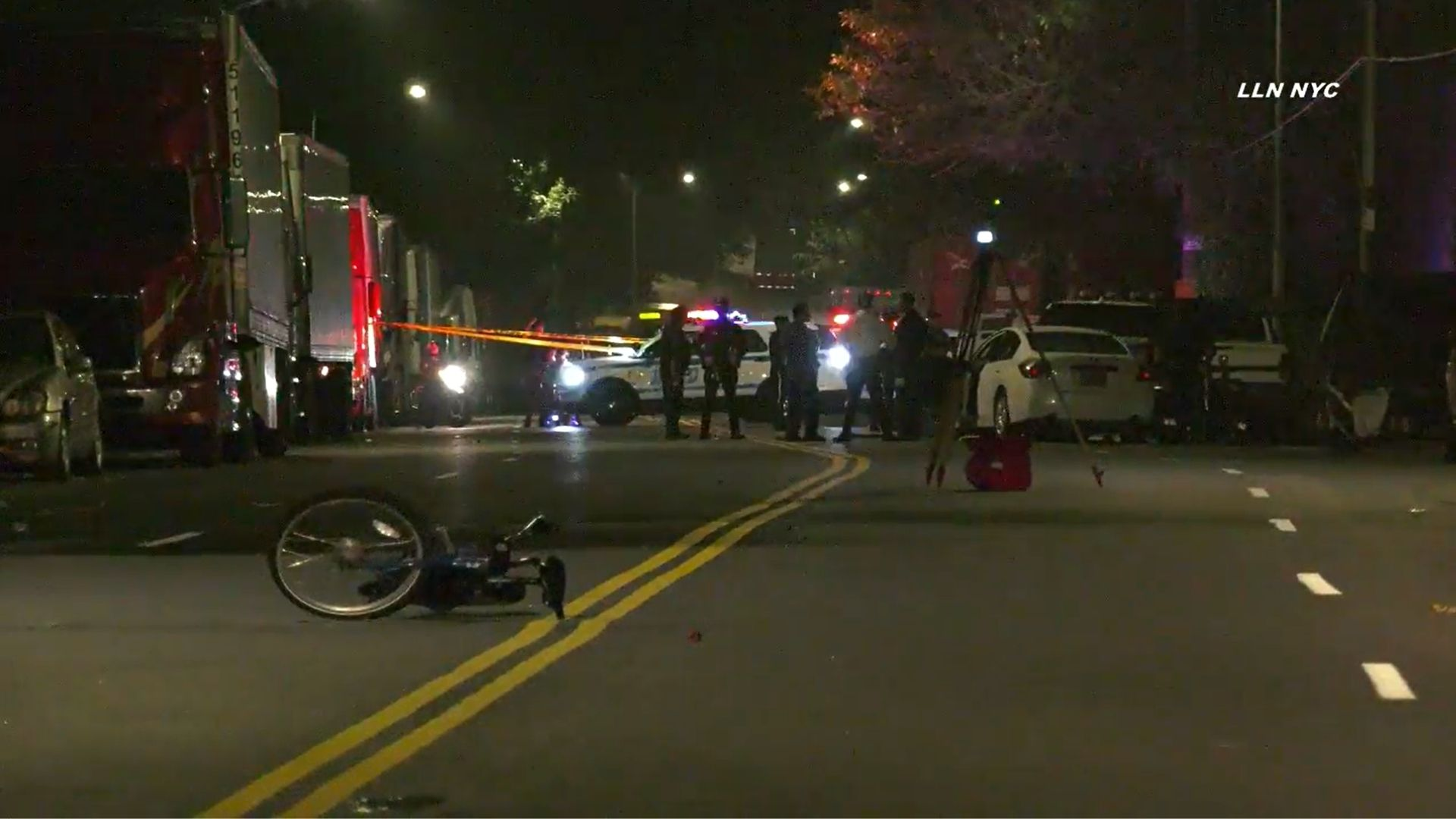 Scene after a cyclist was struck in the Bronx