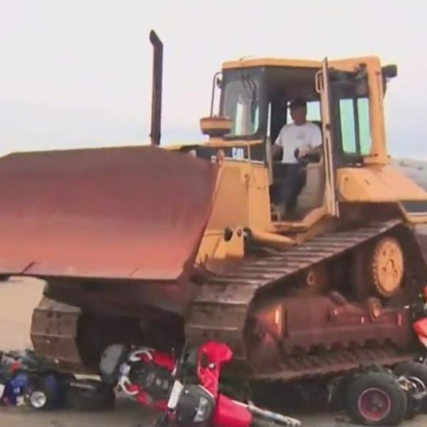 illegal dirt bikes crushed
