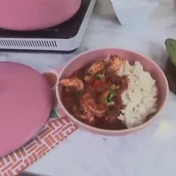 Making camarones enchilados with chef Alejandra Ramos