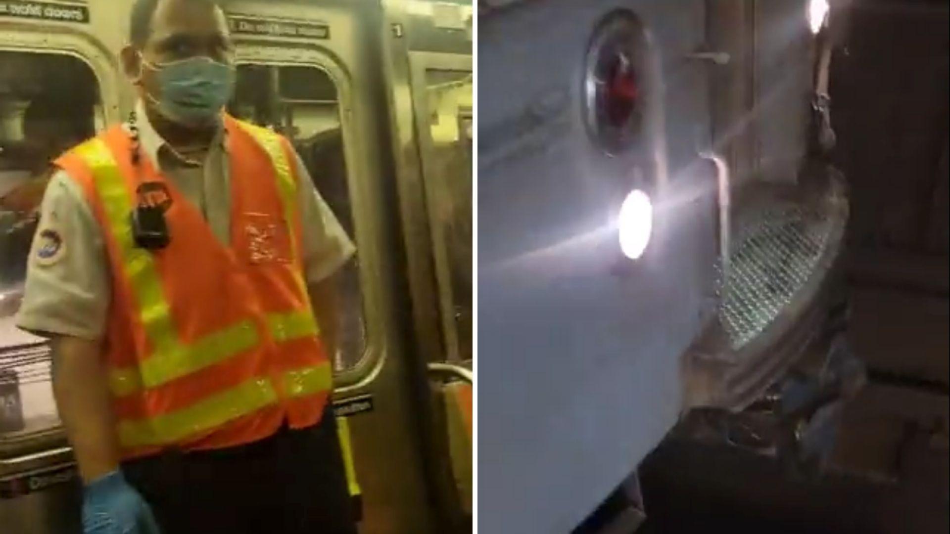 Bronx subway hits metal barrier