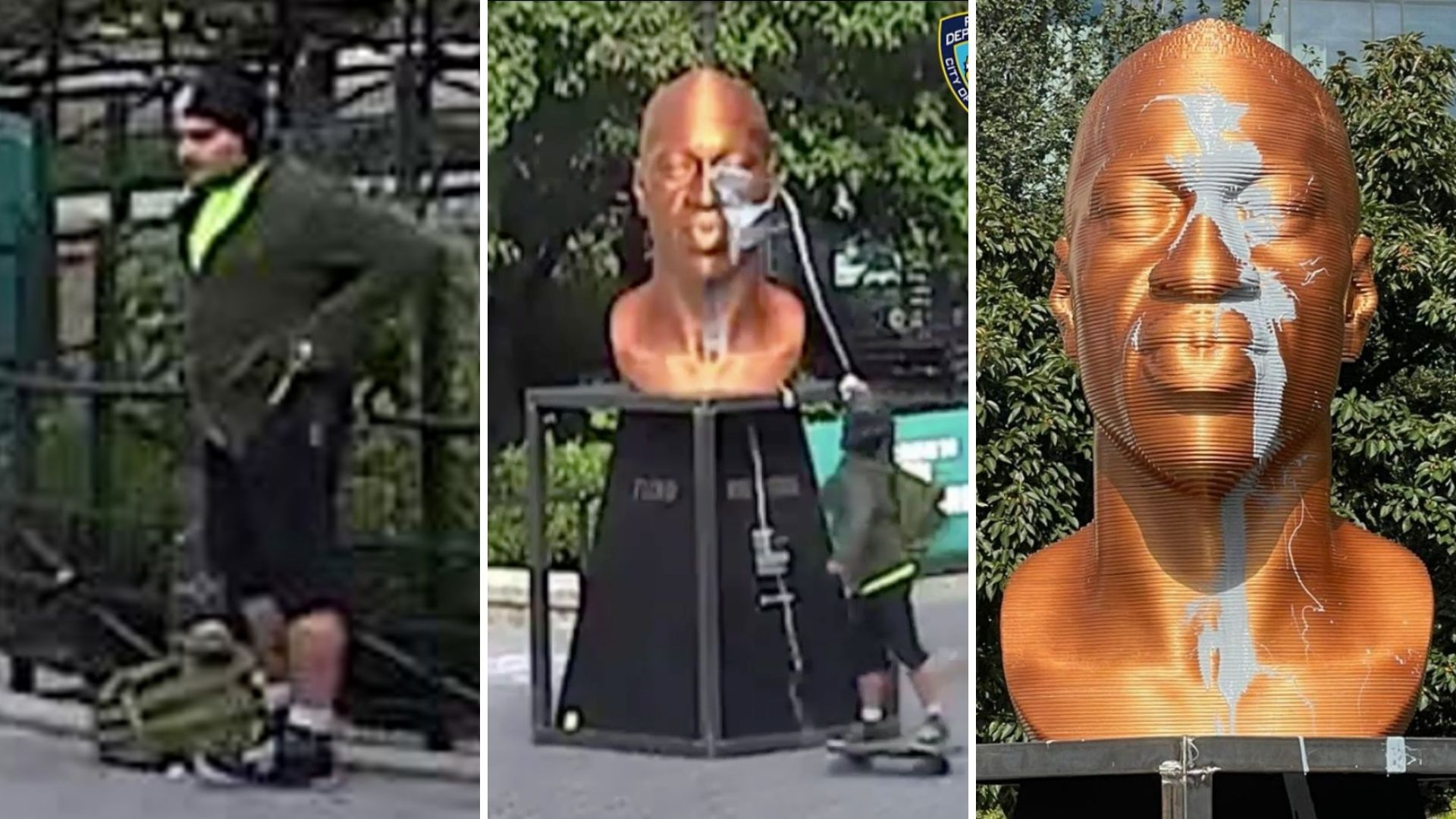 New video: George Floyd statue vandalized