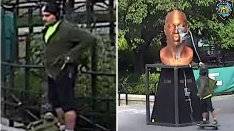 Surveillance video: George Floyd statue vandalized