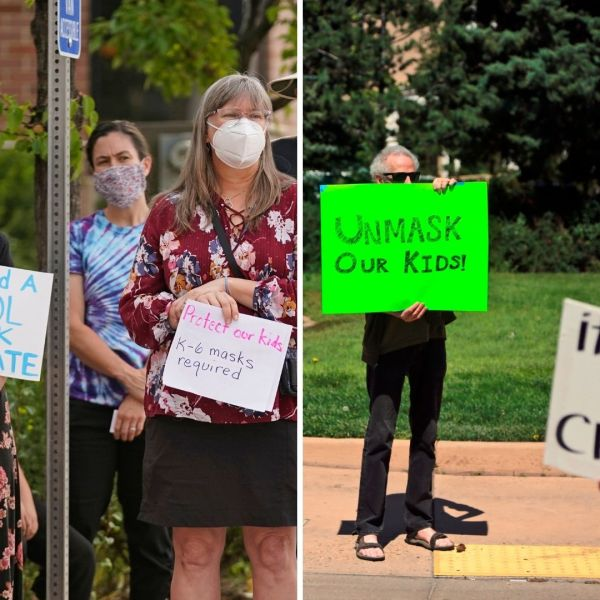 Pro and anti-mask protesters