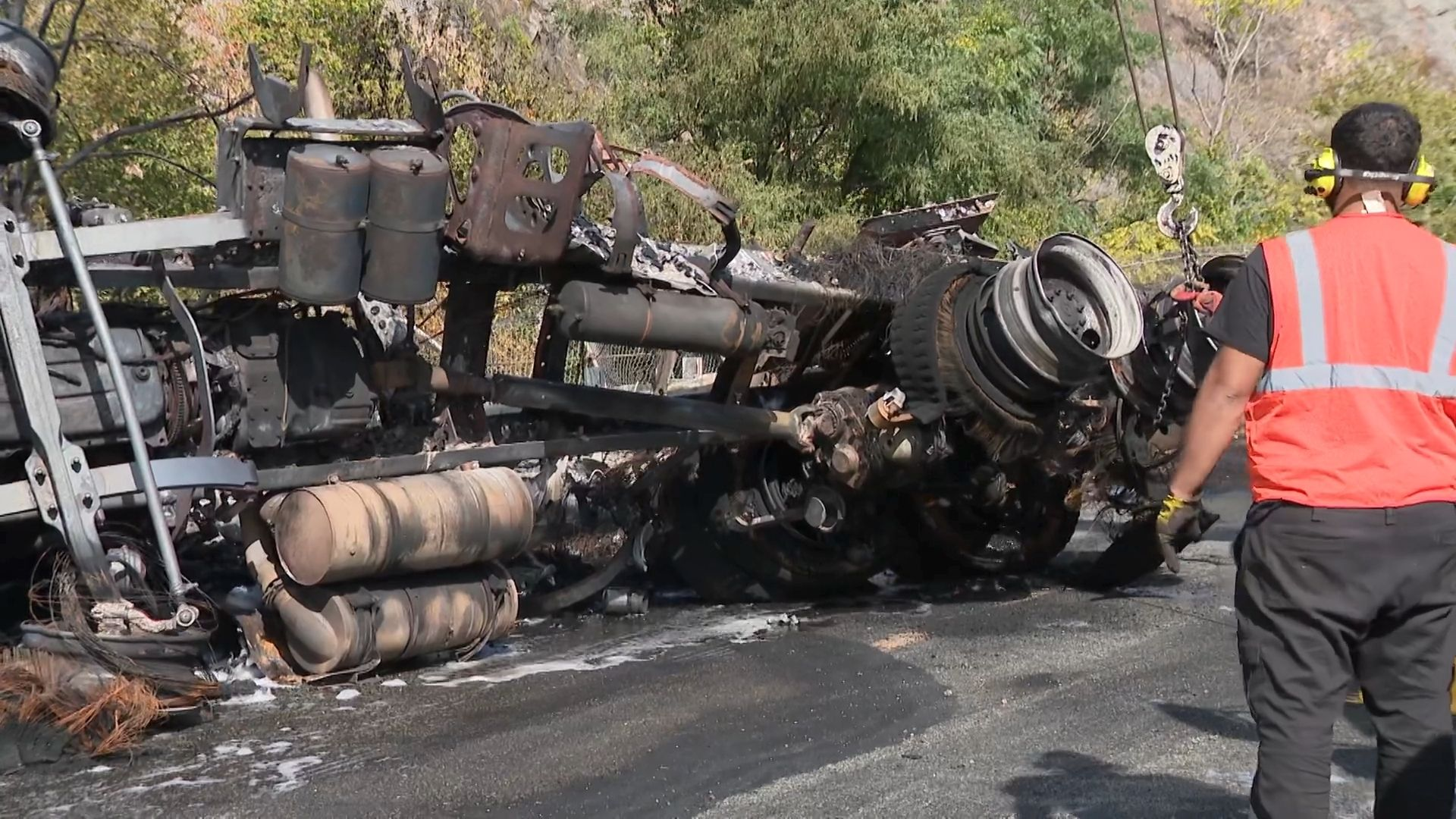 Tanker overturns, bursts into flames on I-287 in New Jersey